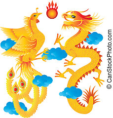 Dragon and Phoenix with Clouds Illustration - Dragon and...