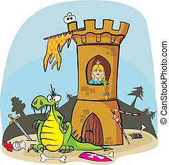 dragon and princess in tower - frairy tale - princess...