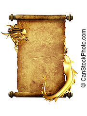Dragon and scroll of old parchment. Object isolated over...