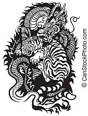 dragon and tiger fighting black and white tattoo...
