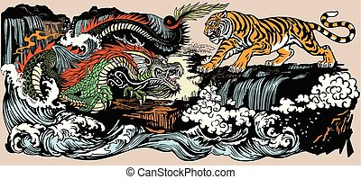 Green Chinese East Asian dragon versus tiger in the landscape with waterfall and water waves . Two spiritual creatures in the Buddhism representing the spirit heaven and matter earth. Graphic style vector illustration