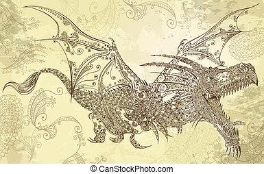 dragon, art, vecteur, tatouage, henné