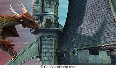 Dragon attacking the castle and fighting with an elf