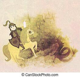 dragon attacks the castle