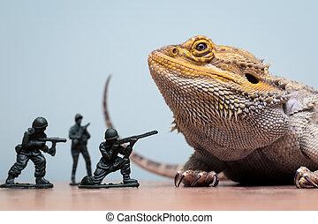 dragon, barbu, dinosaure, monstre