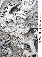 Dragon Bas-relief at Chinese Temple - Image of a dragon...