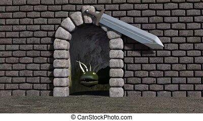 Dragon behind a sword pendulum - Dragon under cyclopean...