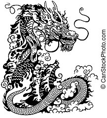 dragon black and white