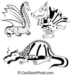 dragon black illustration - Vector illustration of different...