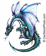 Blue dragon on white background. Picture created with pen and colored pencils