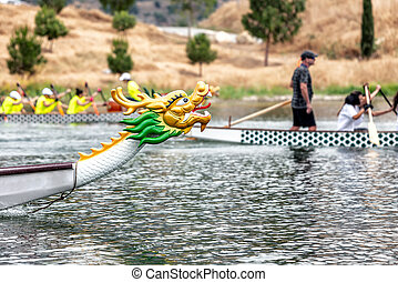 Dragon boat's head during the racing