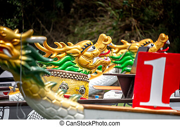 Dragon boat's heads and drum