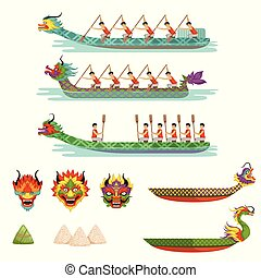 Dragon boats set, team of male athletes compete at Dragon Boat Festival vector Illustrations on a white background