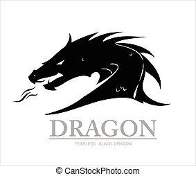 dragon., cabeza, negro, dragón