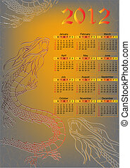Dragon. Calendar for 2012 year. Vector illustration