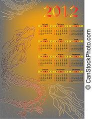 dragon., calendario, per, 2012, year., vettore, illustrazione