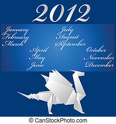 dragon., carta, calendario