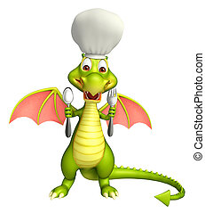Dragon cartoon character with chef hat and spoons - 3d...