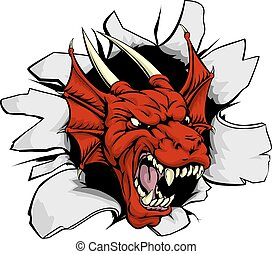 dragon, casser, rouges, dehors