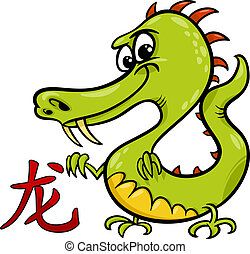 dragon chinese zodiac horoscope sign - Cartoon Illustration...