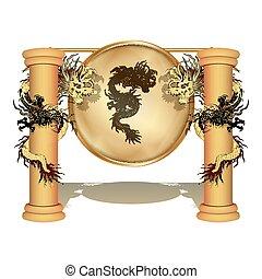 dragon chinois, sur, les, poteau, à, a, disque