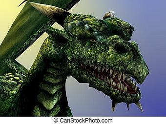 Dragon Close-up - Dragon close-up -- 3D render