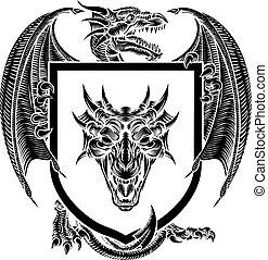 Dragon Coat of Arms Crest Shield Heraldic Emblem