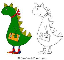 Dragon. Coloring book - Colorful graphic illustration