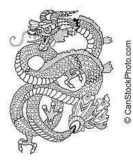 Dragon Coloring Book For Adults Vector