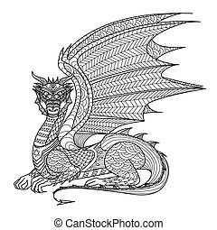 Dragon coloring page - Dragon line art design for coloring...