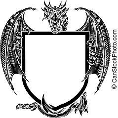 Dragon Crest Heraldic Coat of Arms Shield Emblem