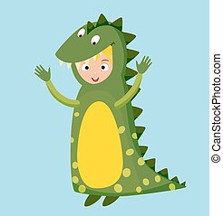 Dragon crocodile kid costume isolated vector illustration....