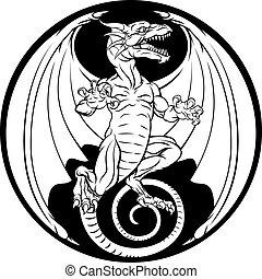 Dragon Design - A dragon illustration in a circular design