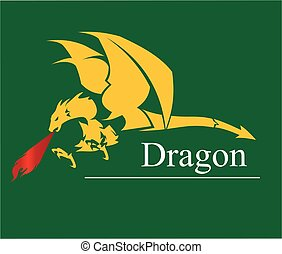 dragon, dragon with the flame from the mouth. vector & illustration. Shooter Dragon