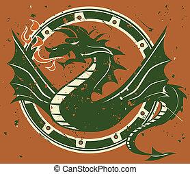 Dragon Emblem - Winged dragon and circle frame on terra...