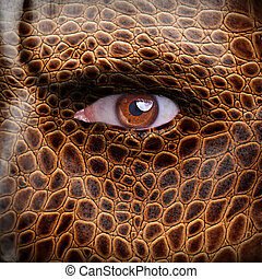 Dragon face - Lizard skin pattern on angry man face - nature...