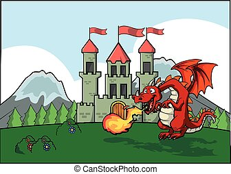 Dragon fire and castle