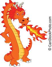 dragon fire cartoon - cute dragon cartoon illustration