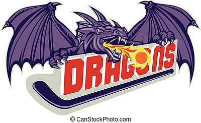 """Illustration of a purple dragon head breathing fire on hockey stick and the word """"Dragons"""" on isolated white background done in retro style."""