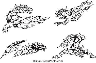 dragon, flamme, tatouages