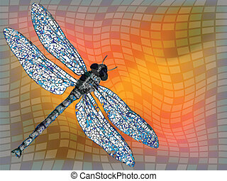 dragon fly against squared texture, abstract vector art...
