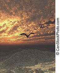 Dragon Flying at Sunset