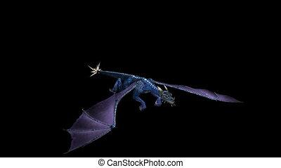 Dragon Flying Blue 02 - Looping Blue Dragon Animation 2....
