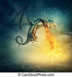 Dragon - Flying fantasy dragon at night
