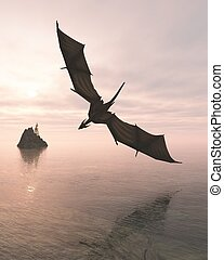 Dragon Flying Low Over the Sea at Evening - Fantasy...