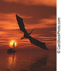 Dragon Flying Low Over the Sea at Sunset