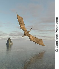 Dragon Flying Low Over the Sea in Daylight