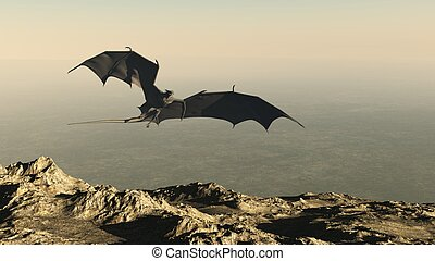 Dragon Flying over a Mountain Cliff - Dragon flying over a...