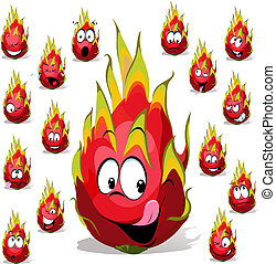 dragon fruit cartoon with many facial expressions isolated...