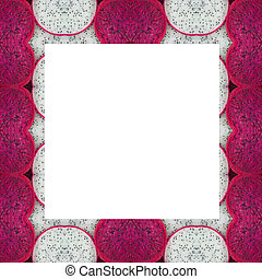 dragon fruit frame isolated on background